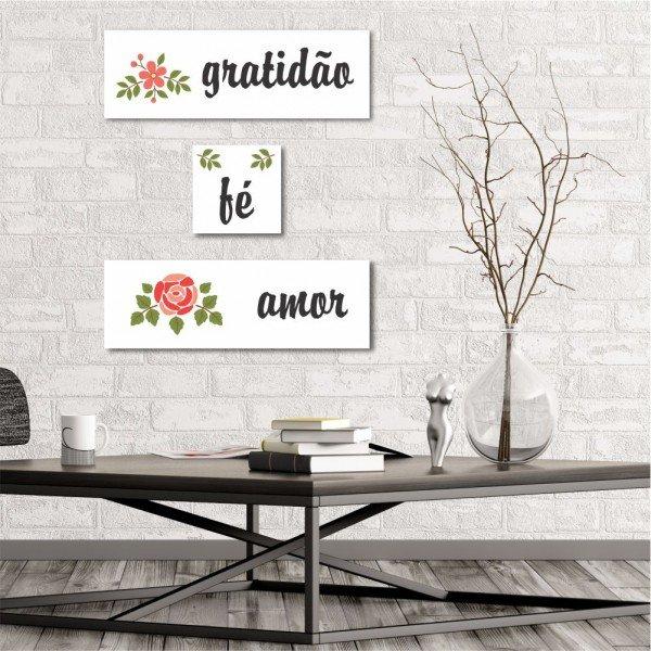 Kit 3 Placas Decorativas Gratidão Fé Amor
