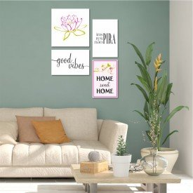 Kit 4 Placas Decorativas Home Sweet Home