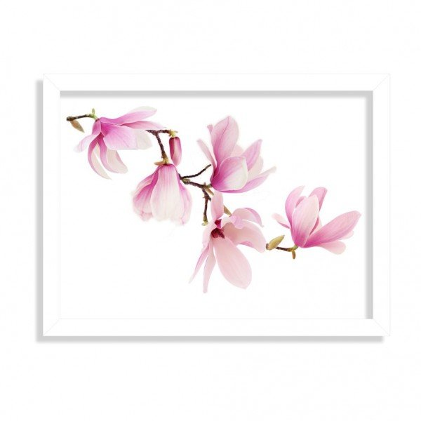 Quadro Decorativo Mognolia Rosa Branco
