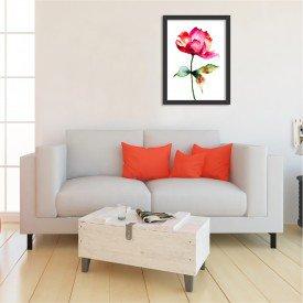 Quadro Decorativo Rosa Abstrata Vermelha Pintura Preto