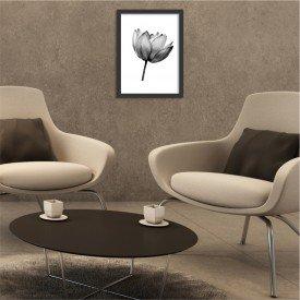 Quadro Decorativo Flor de Lotus Black and White Preto