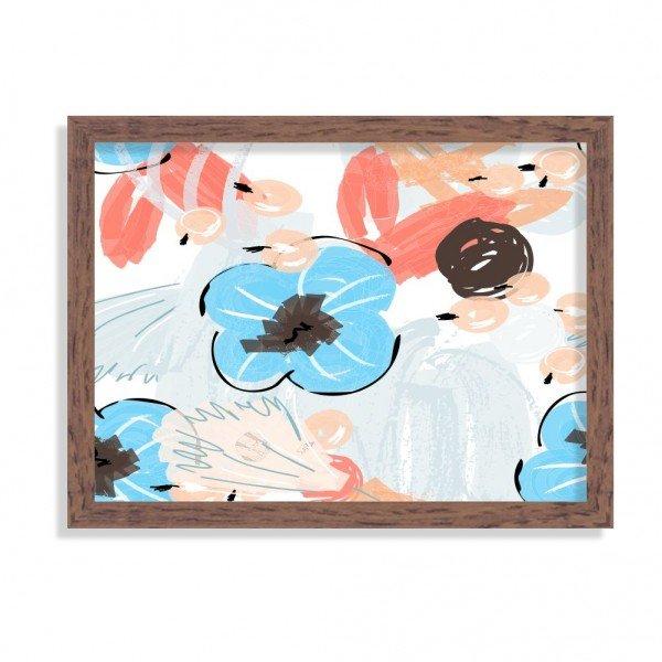 Quadro Decorativo Flores Coloridas Abstratas Azul e Vermelho Madeira