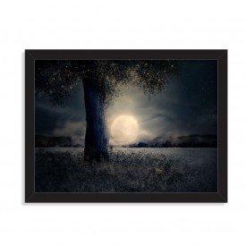 Quadro Decorativo Lua Cheia Crepúsculo Preto