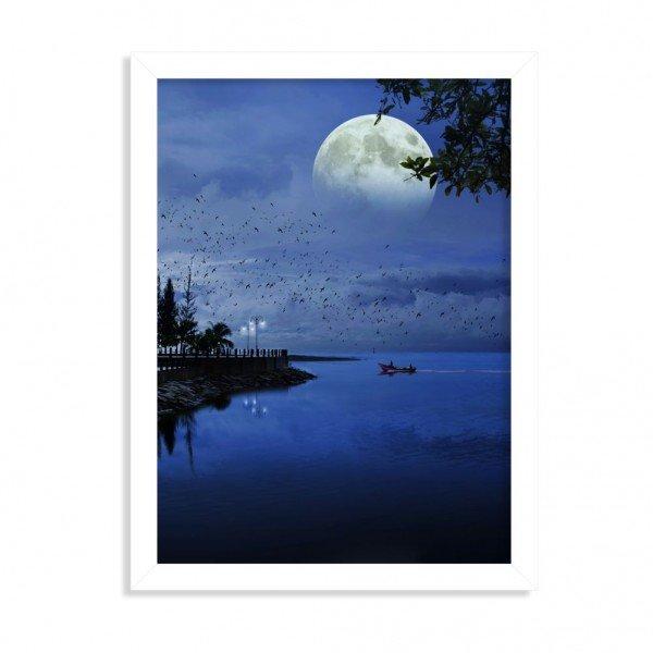 Quadro Decorativo Noite de Lua Cheia no Lago Branco