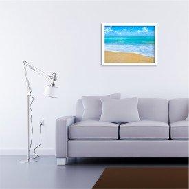 Quadro Decorativo Praia Tropical Azul Branco
