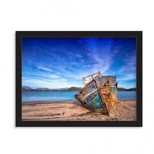 Quadro Decorativo Barco de Pescador Abandonado Preto