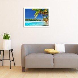 Quadro Decorativo Coqueiro de Praia Tropical Branco