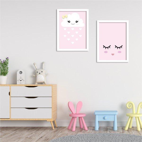 Kit 2 Quadros Decorativos Infantil Nuvem Rosa Branco
