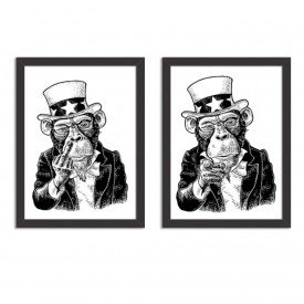 Kit 2 Quadros Decorativos Badass Monkey Preto