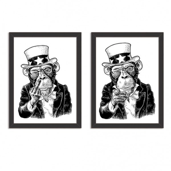 Kit 2 Quadros Decorativos Badass Monkey Preto