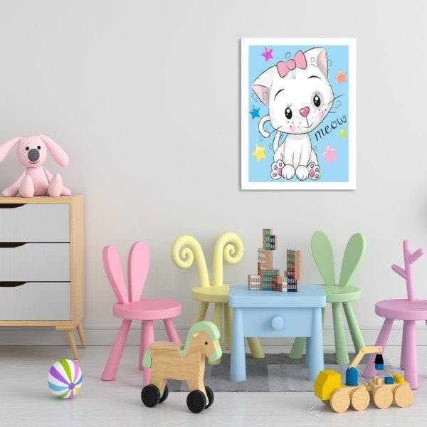 Quadro Decorativo Infantil Gatinho Meow Branco
