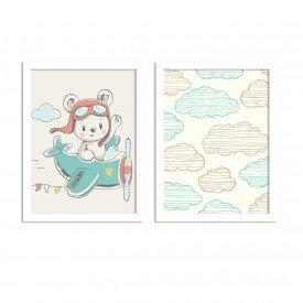 Kit 2 Quadros Decorativos Infantil Ursinho nas Nuvems
