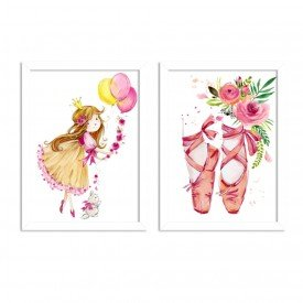 Kit 2 Quadros Decorativos Infantil Sapatilha Bailarina Branco
