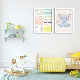 Kit 2 Quadros Decorativos Infantil Elefantinho Carinhoso Branco