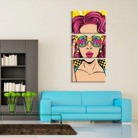 Kit 3 Telas Canvas Cool Girl Abstrato Moderno
