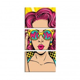 Kit 3 Telas Canvas Cool Girl Abstrato Moderno