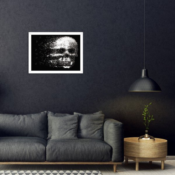 Quadro Decorativo Black Skull Faded Branco