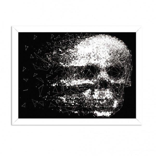 Quadro Decorativo Black Skull Faded Branco