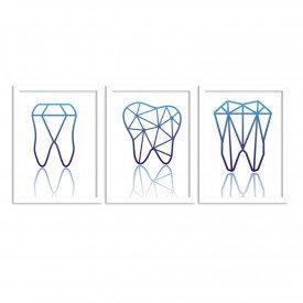 Kit 3 Quadros Decorativos Dentes Azul Branco