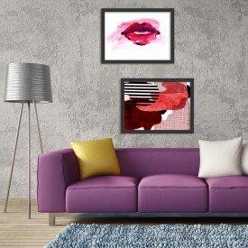 Kit 2 Quadros Decorativos Glamour Abstrato Boca Preto
