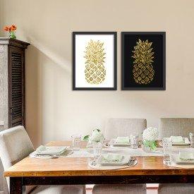 Kit 2 Quadros Decorativos Abacaxi Dourado Fundo Preto e Branco Preto