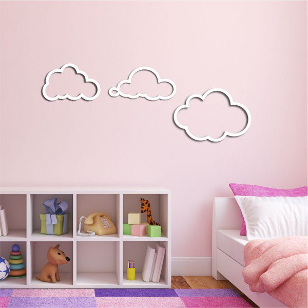 Escultura de Parede em MDF Três Nuvens infantil Branco