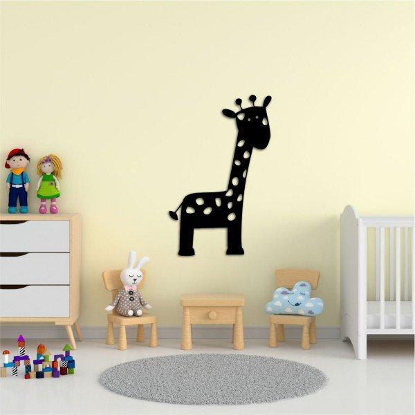 Escultura de Parede em MDF Girafa Infantil Preto