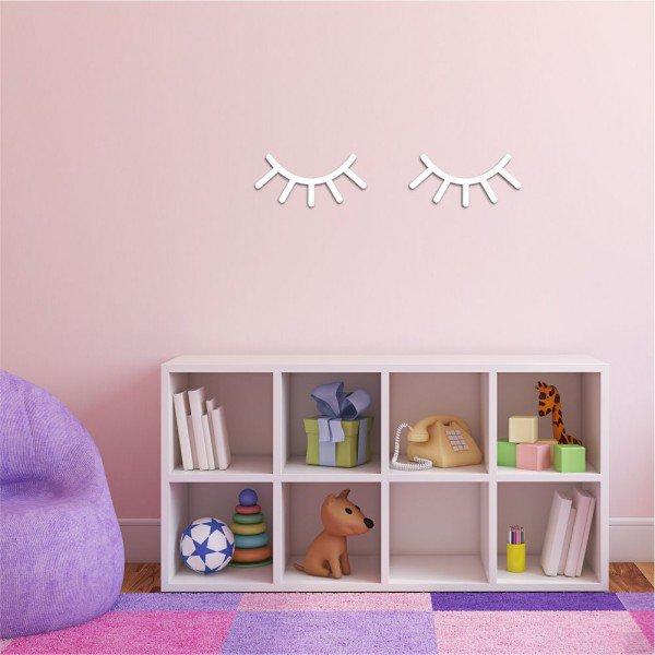 Escultura de Parede em MDF Cílios Infantil Branco