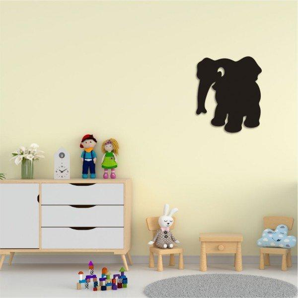 Escultura de Parede em MDF Elefante Infantil Preto