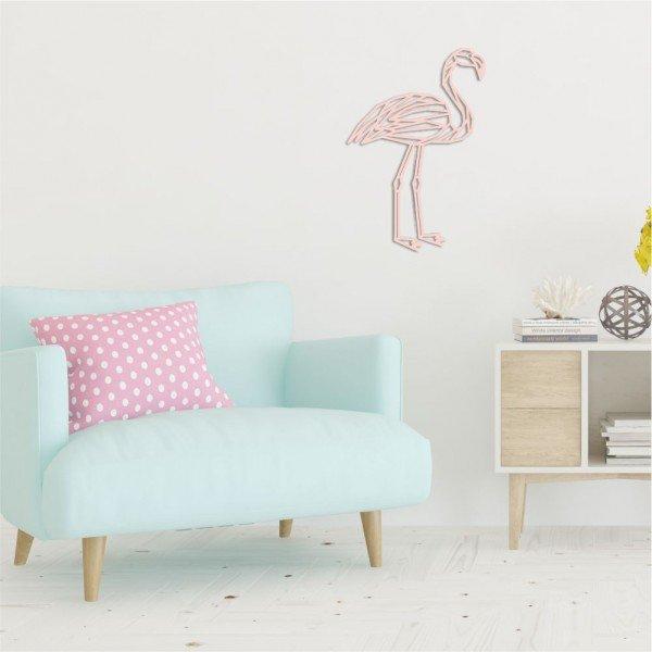 Escultura de Parede em MDF Flamingo Rosa