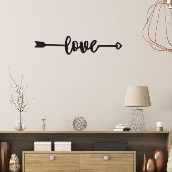 Escultura de Parede em MDF Flecha com Love Preto