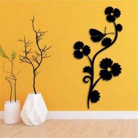 Escultura de Parede em MDF Flor Vertical Decorativa Preto