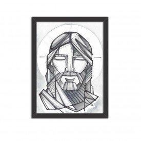 Quadro Decorativo Religião O Rosto do Senhor Preto