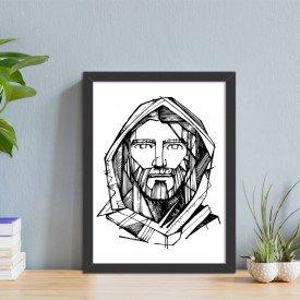 Quadro Decorativo Religião Rosto de Cristo Preto