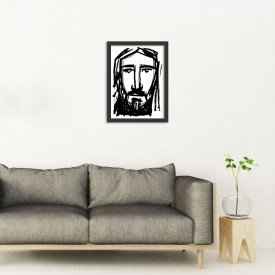 Quadro Decorativo Religião Rosto do Rei Cristo Preto