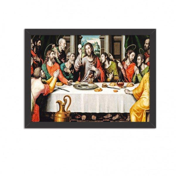 Quadro Decorativo Religião Santa Ceia Preto