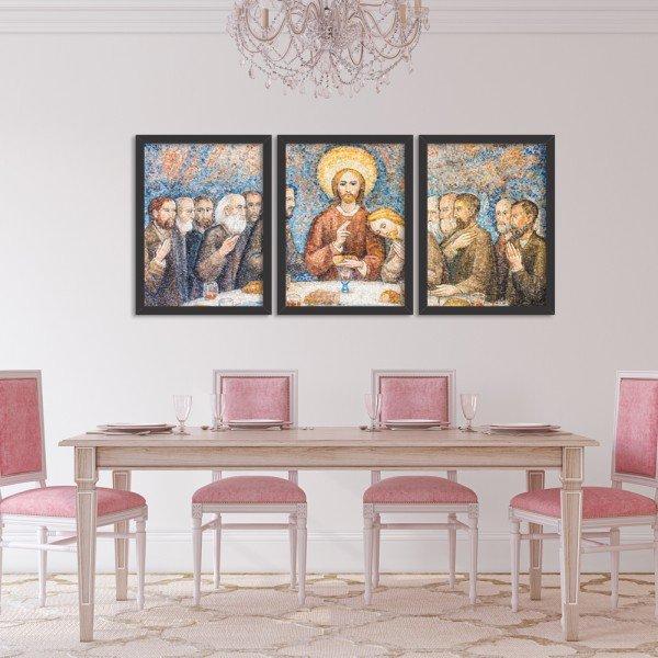Kit 3 Quadros Decorativos Religião A Ceia Mosaico Abstrato Preto