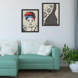 Kit 2 Quadros Decorativos Cultura Africa Abstrato Moderno Preto