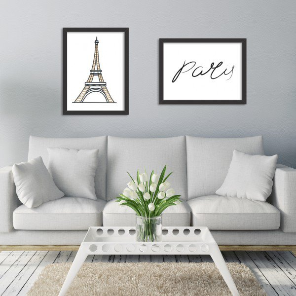 Kit 2 Quadros Decorativos Paris Fellings Preto