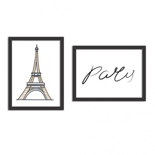 Kit 2 Quadros Decorativos Paris Fellings Preto