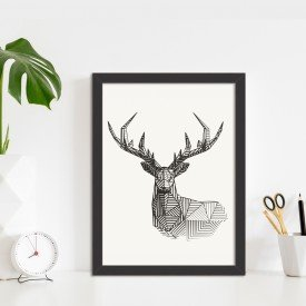 Quadro Decorativo Linedrawing Deer Preto