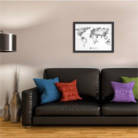 Quadro Decorativo Worldwide Linedrawing Preto