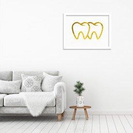Quadro Decorativo em Relevo Espelhado Dente Dourado Branco