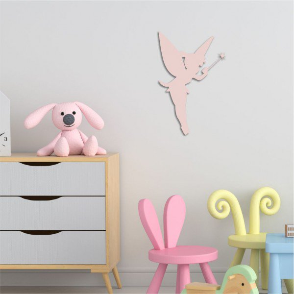 Escultura de Parede em MDF Fada Infantil Rosa
