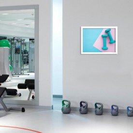 Quadro Decorativo Pilates Halteres Verdes Branco