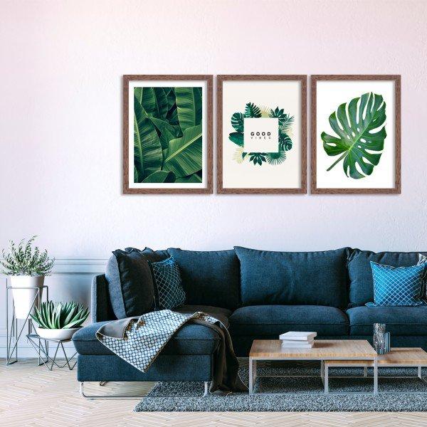 Kit 3 Quadros Decorativos Folhas Verde Natureza Vibes Madeira