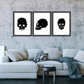 Kit 3 Quadros Decorativos Grunge Skull Preto
