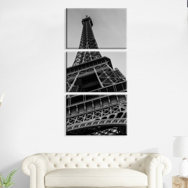 Kit 3 Telas Canvas Paris Black and White