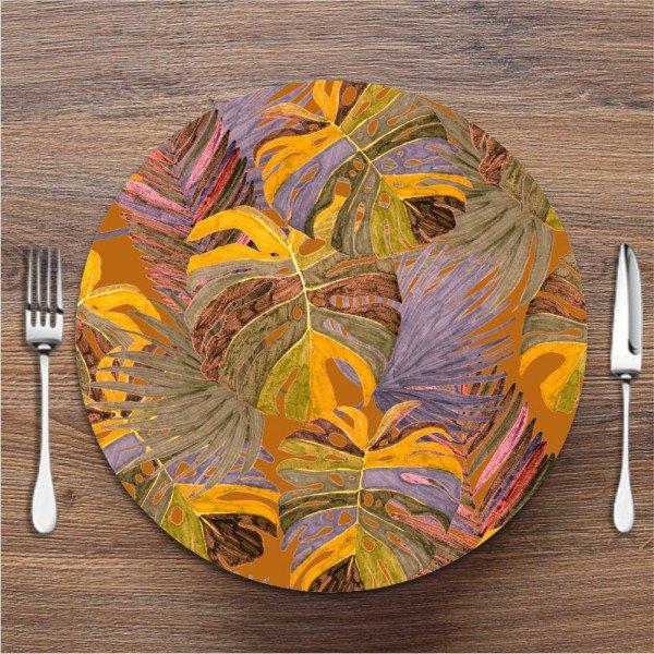 Sousplat Costela de Adão Folhas Colorida