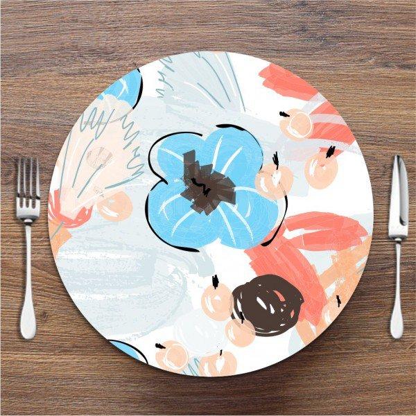 Sousplat Flor Azul Abstrato